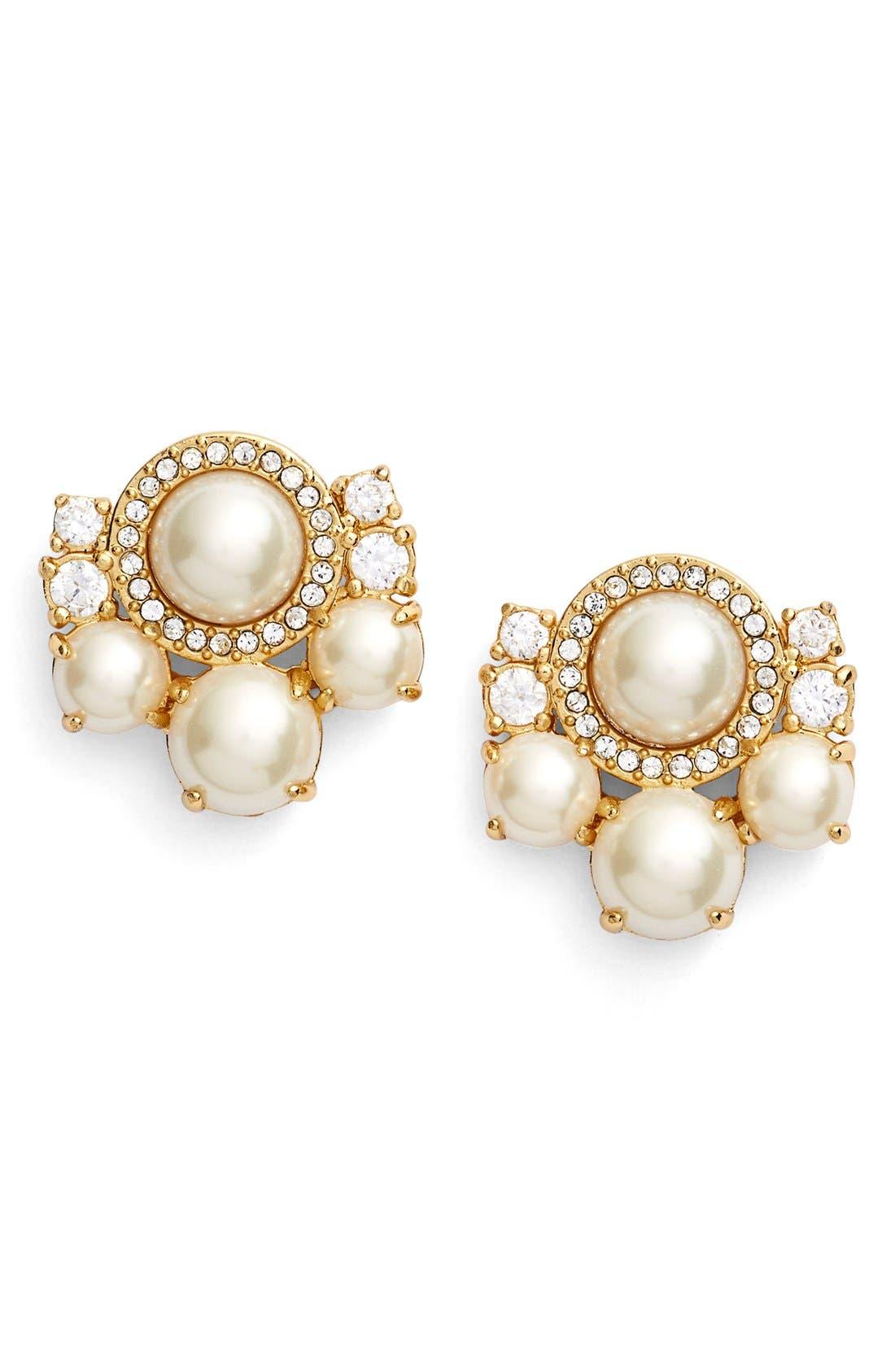 Main Image - kate spade new york pearls of wisdom cluster stud earrings