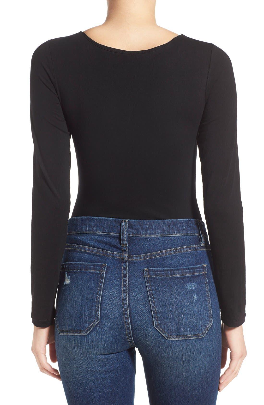 Alternate Image 3  - Glamorous Long Sleeve Lace-Up Bodysuit