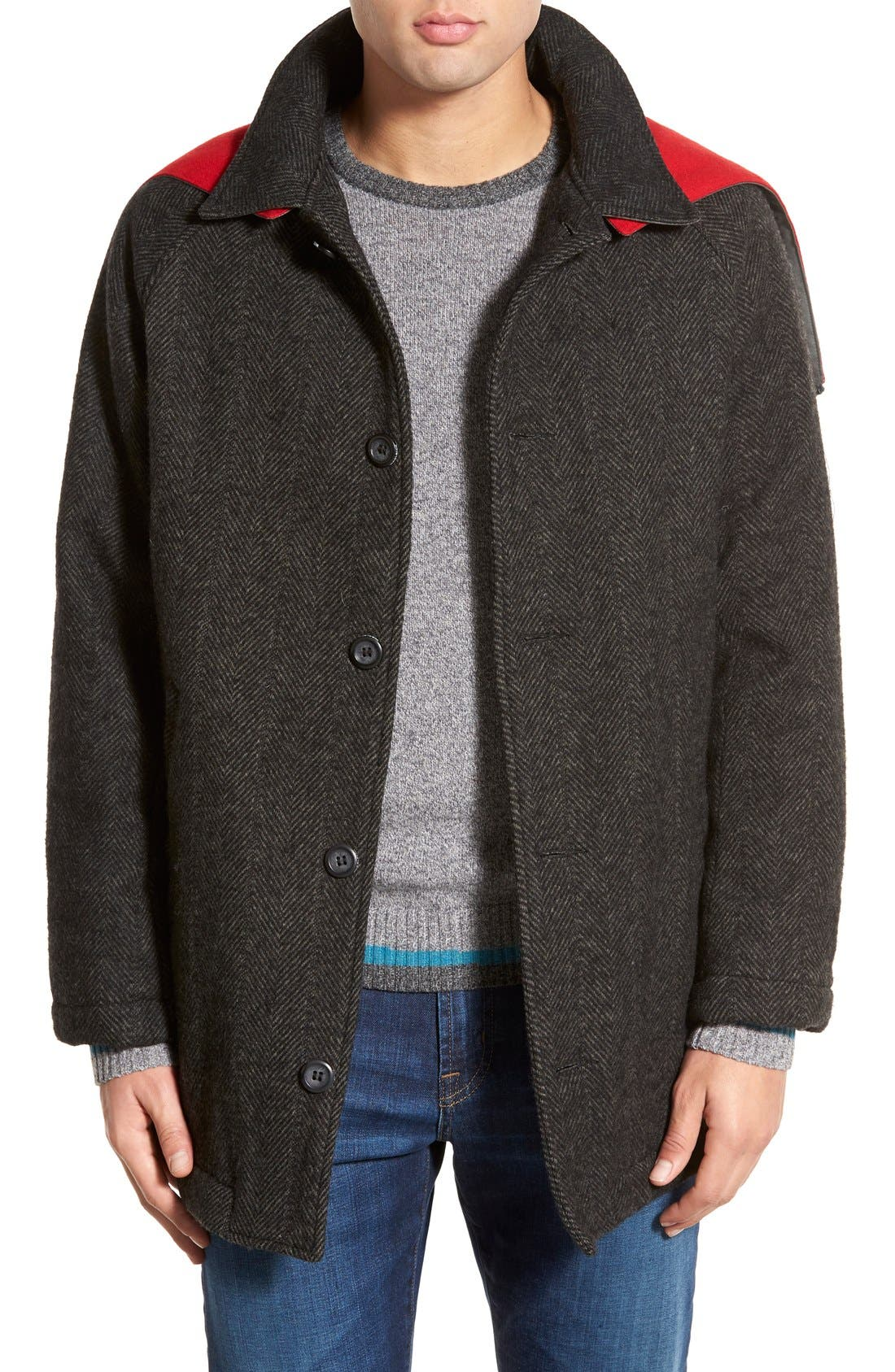 Main Image - Woolrich 'Mill' Water Resistant Herringbone Wool Blend Car Coat with Detachable Hood