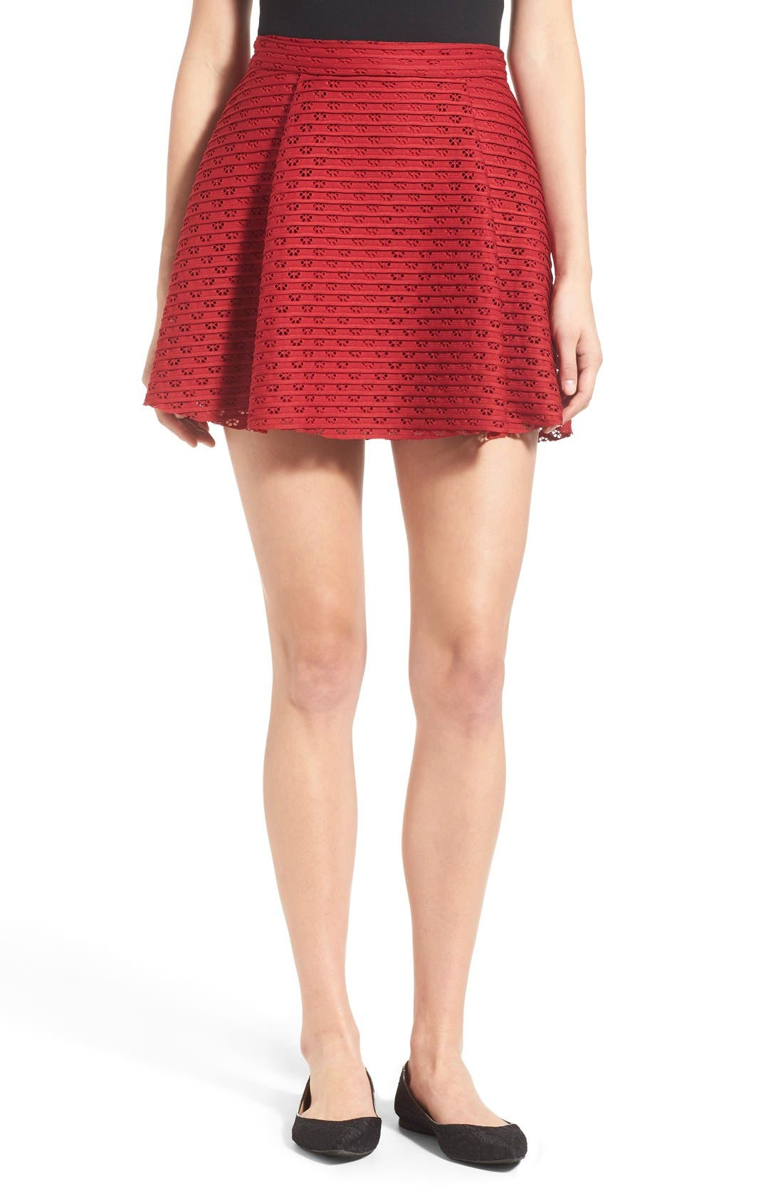 Alternate Image 1 Selected - Lush Pleated Fit & Flare Miniskirt
