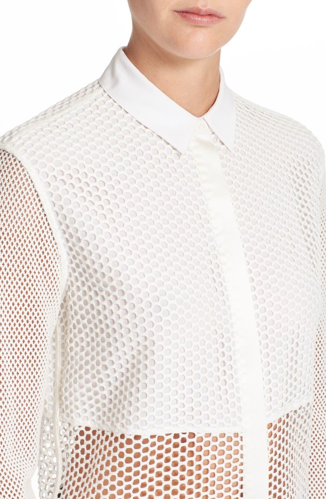 Alternate Image 4  - rag & bone 'Luna' Stretch Cotton Mesh Shirt