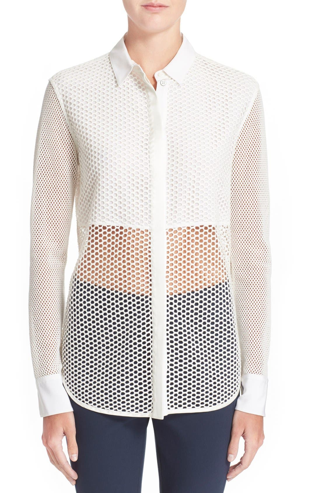 Alternate Image 1 Selected - rag & bone 'Luna' Stretch Cotton Mesh Shirt