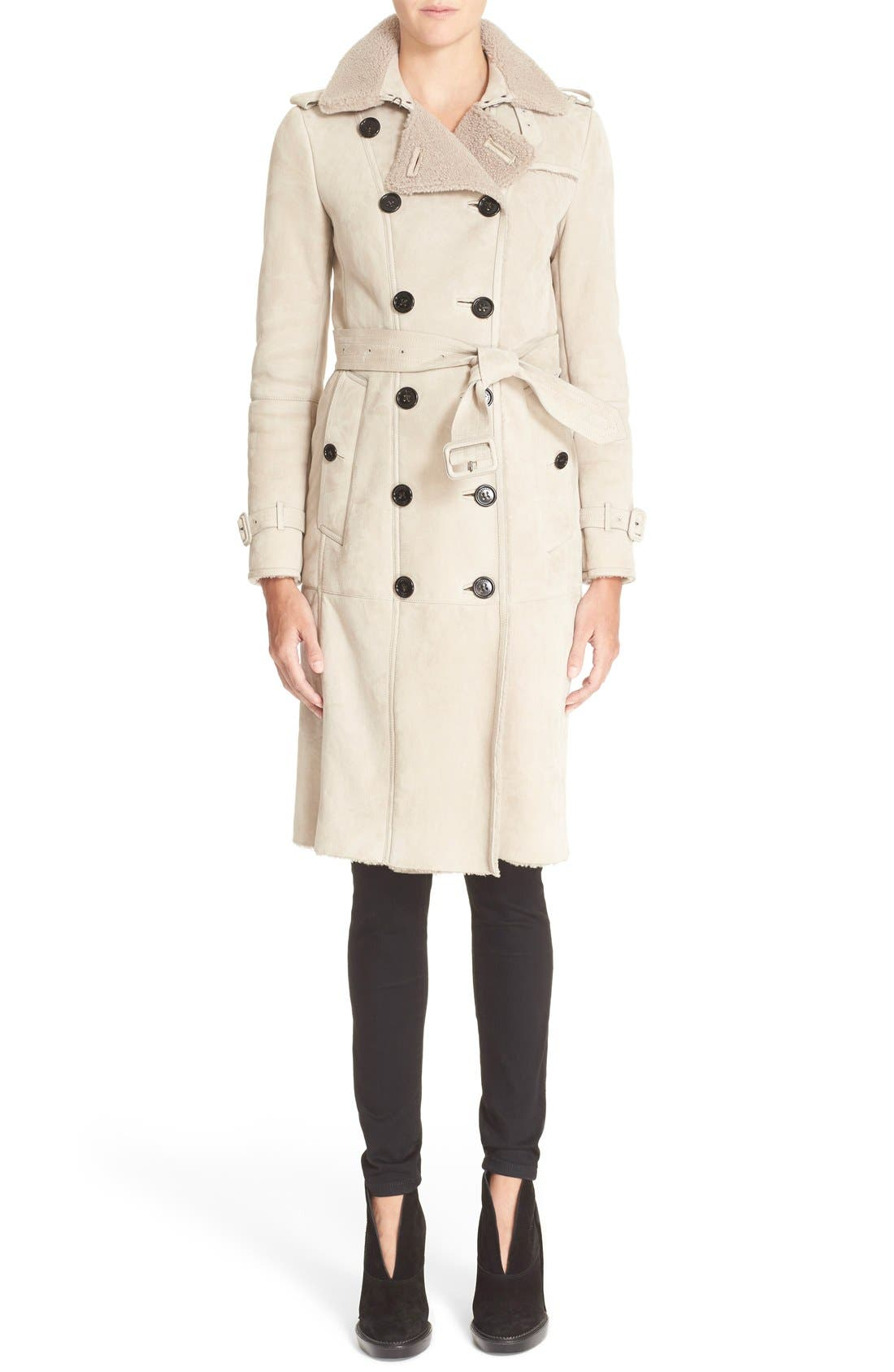 Alternate Image 1  - Burberry London 'Sandringham' Genuine Shearling Trench Coat