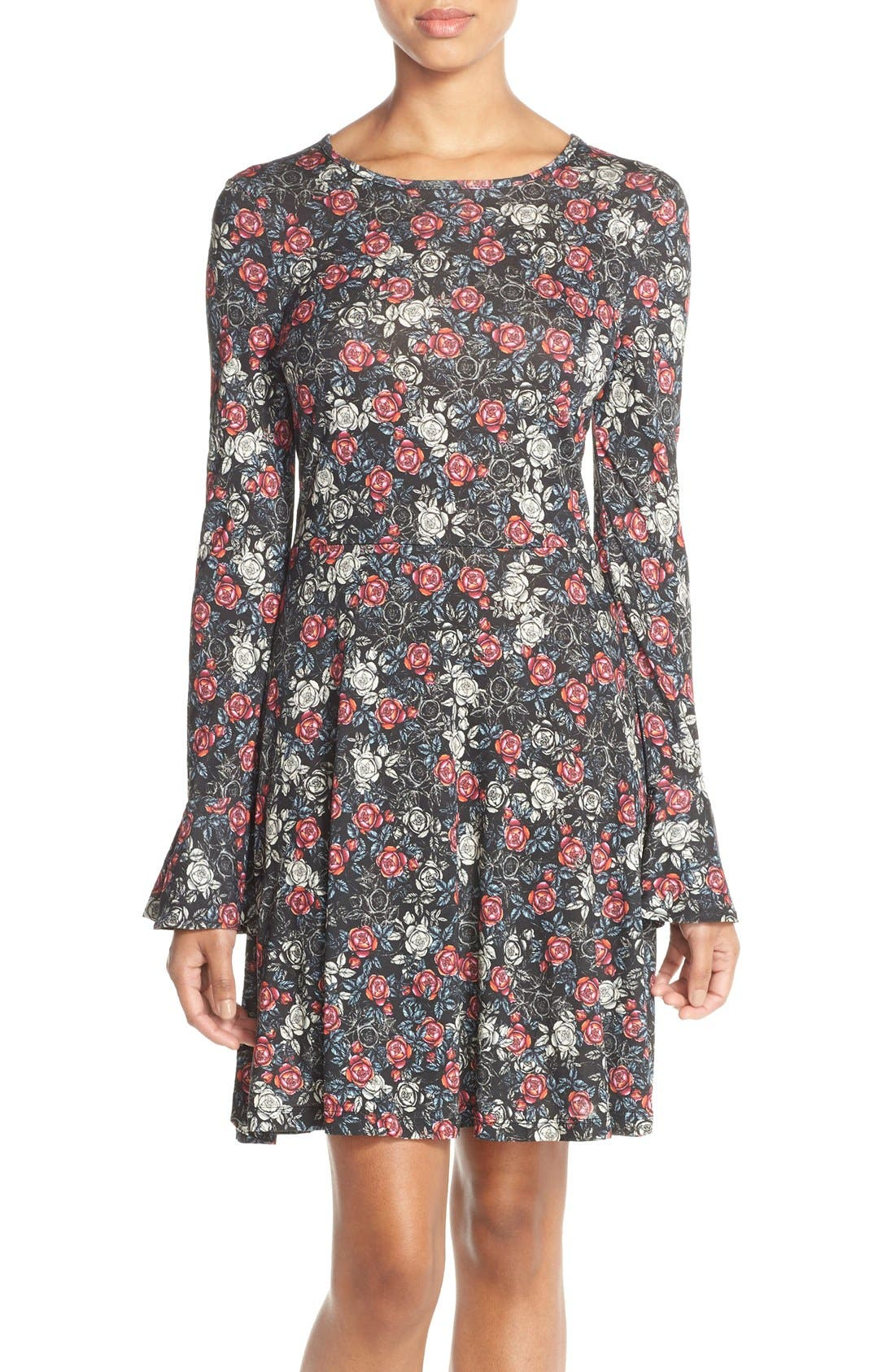 Alternate Image 4  - French Connection Floral Print Jersey A-Line Dress