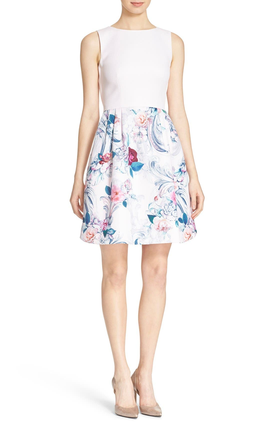 Alternate Image 1 Selected - Ted Baker London 'Eilah' Acanthus Scroll Floral Print Fit & Flare Dress