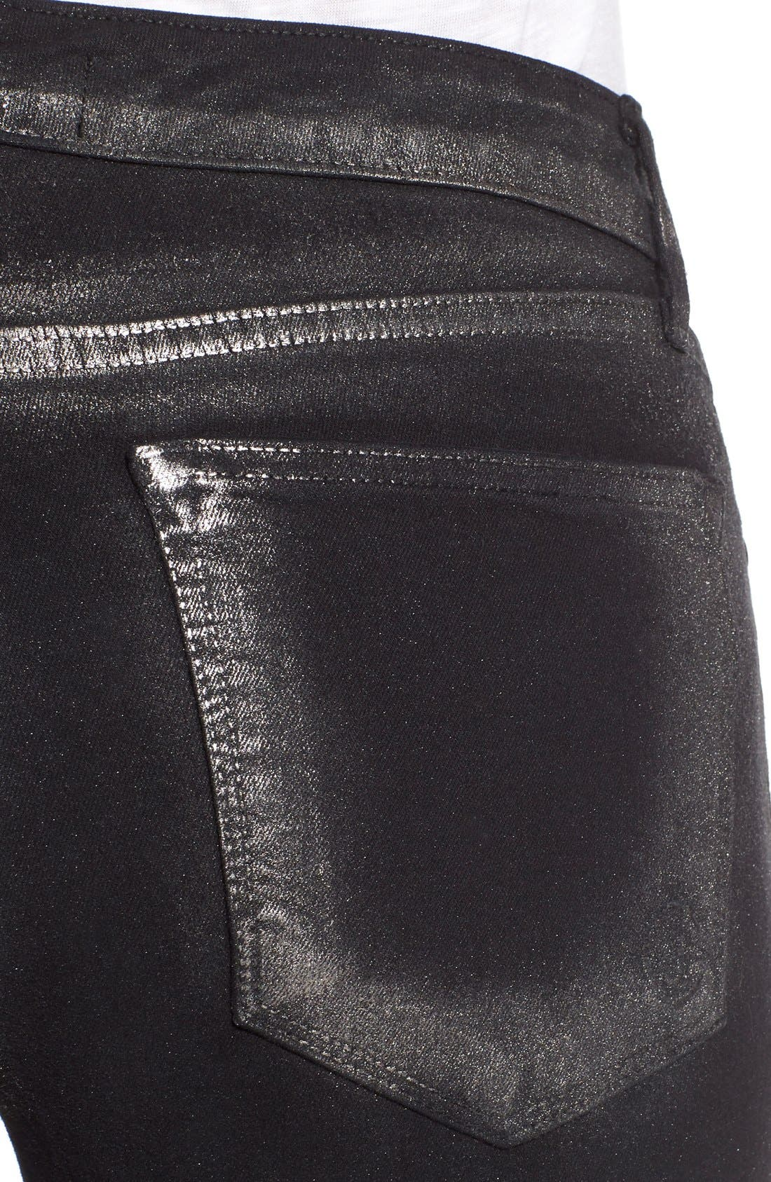 Alternate Image 4  - CJ by Cookie Johnson 'Wisdom' Brushed Foil Skinny Jeans (Pewter)