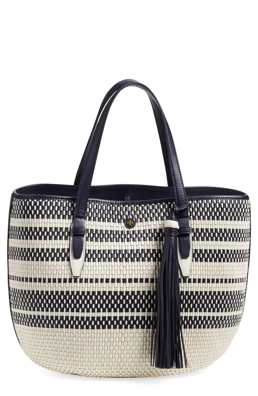 Main Image - Tory Burch Woven Leather Tote
