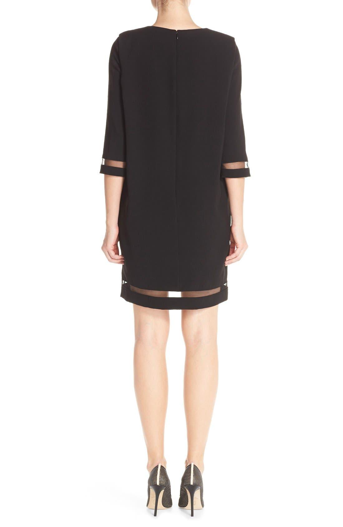 Alternate Image 2  - Tahari Crepe Shift Dress with Mesh Trim (Regular & Petite)