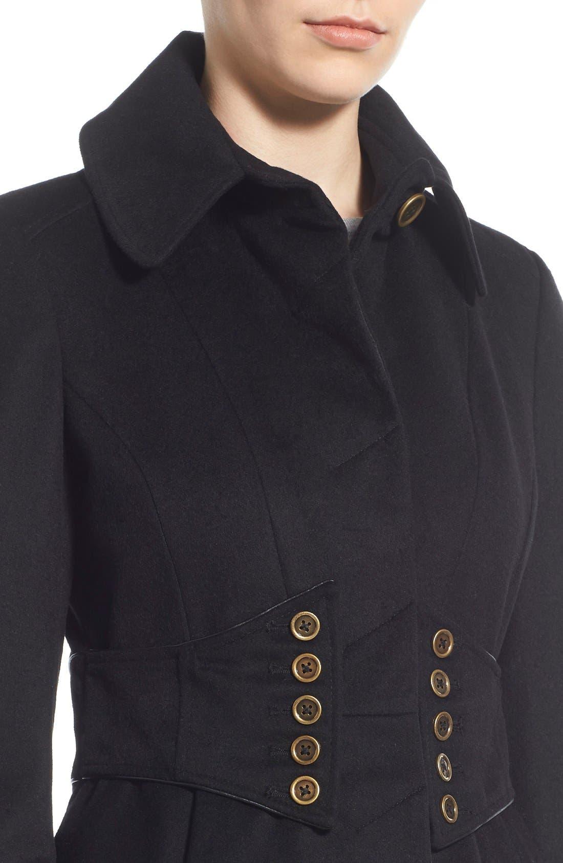 Alternate Image 4  - Betsey Johnson Faux Fur Collar Skirted Wool Blend Coat