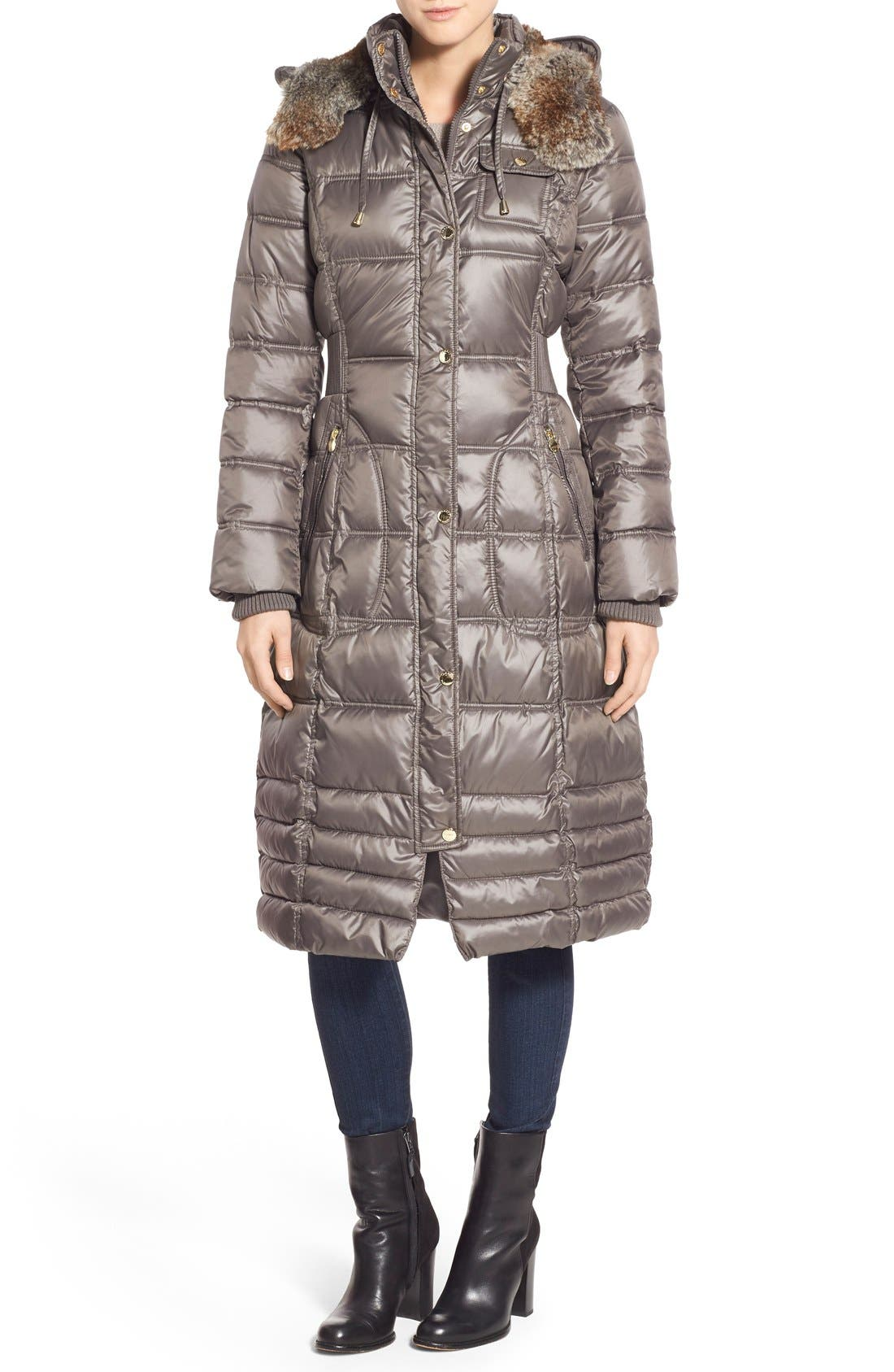 Main Image - Laundry by Design Quilted Coat with Faux Fur Lined Hood