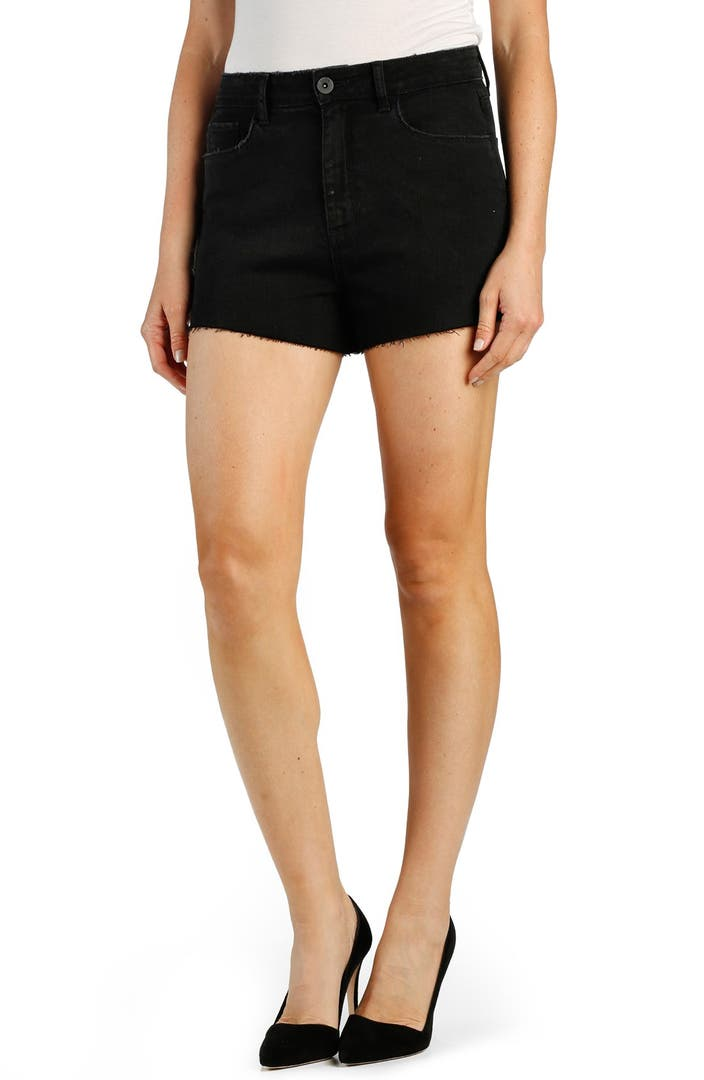 PAIGE u0026#39;Margotu0026#39; High Rise Cutoff Denim Shorts (Vintage Black) | Nordstrom