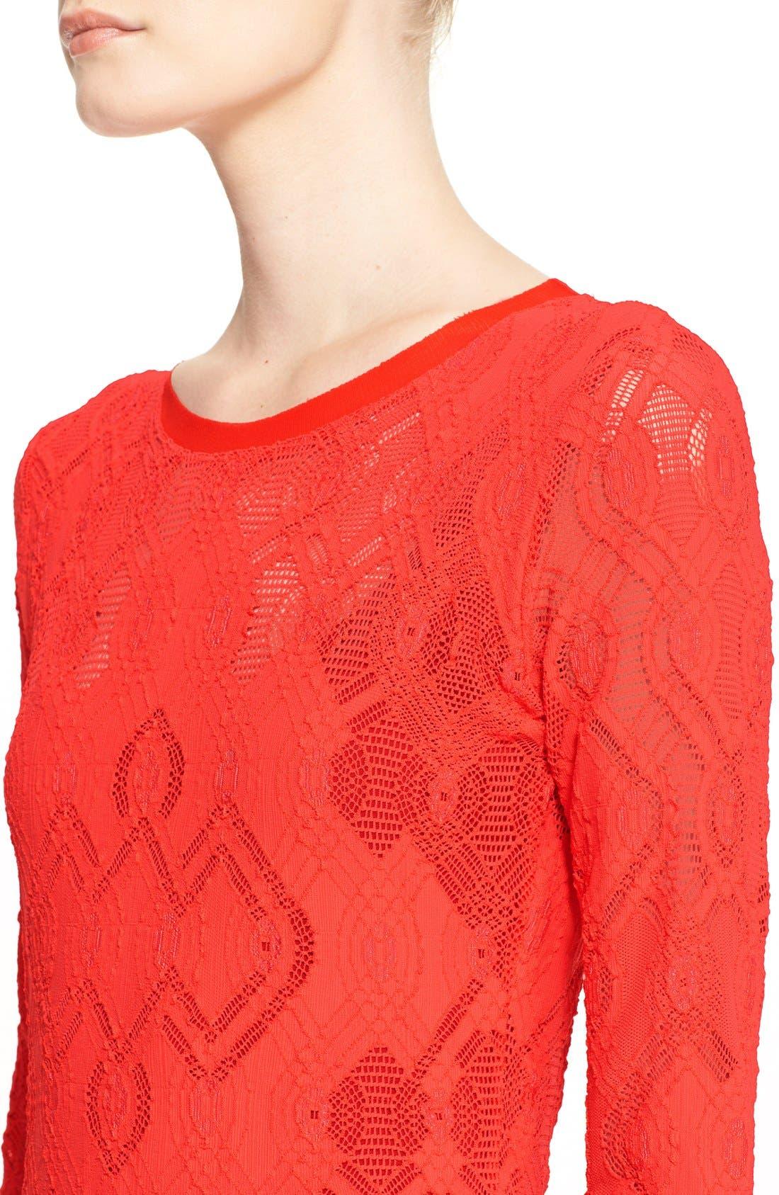 Alternate Image 6  - Fuzzi Long Sleeve Geo Lace Sheath Dress