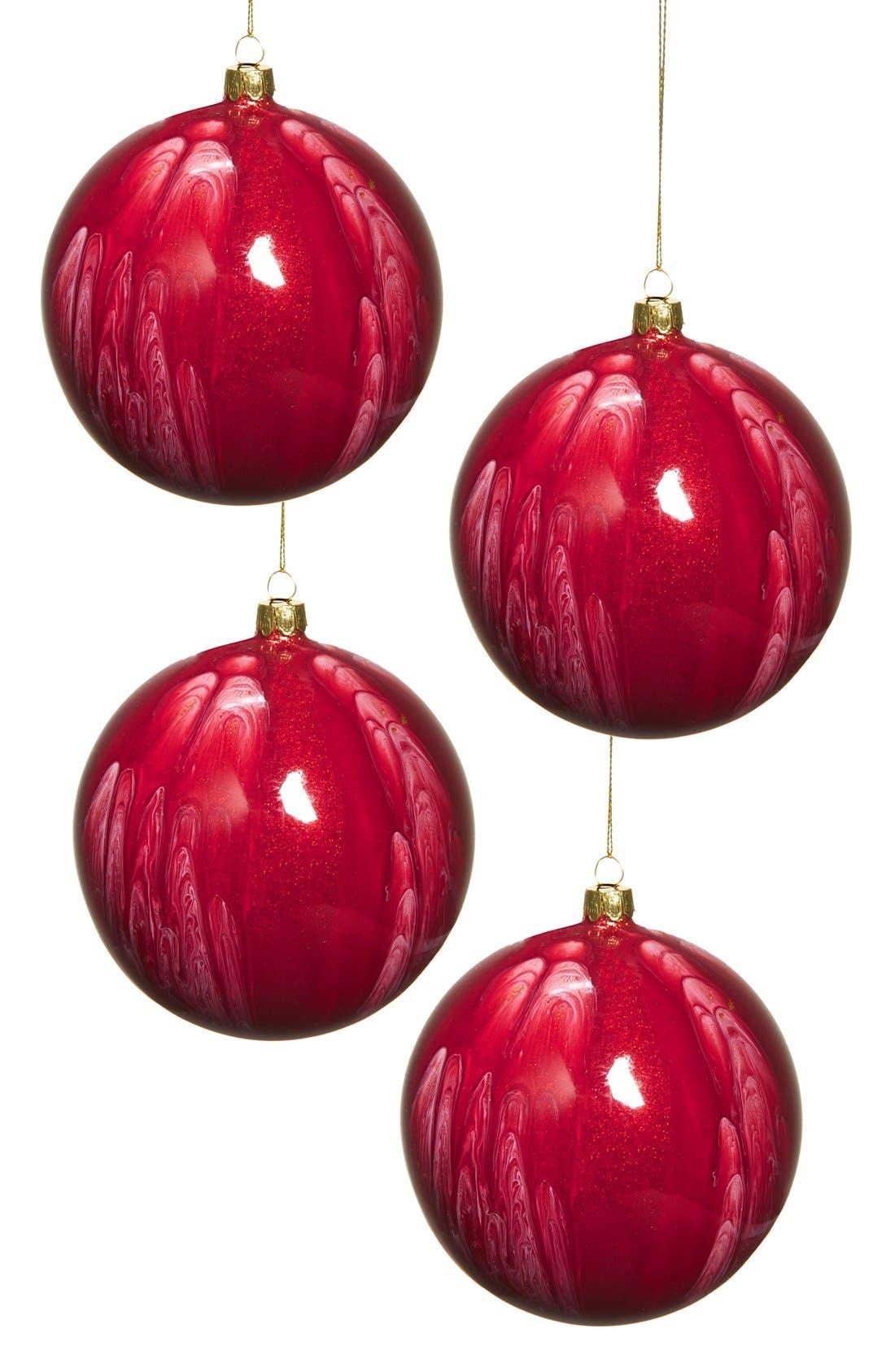 Main Image - Jim Marvin 'Malachite' Glass Ball Ornaments (Set of 4)