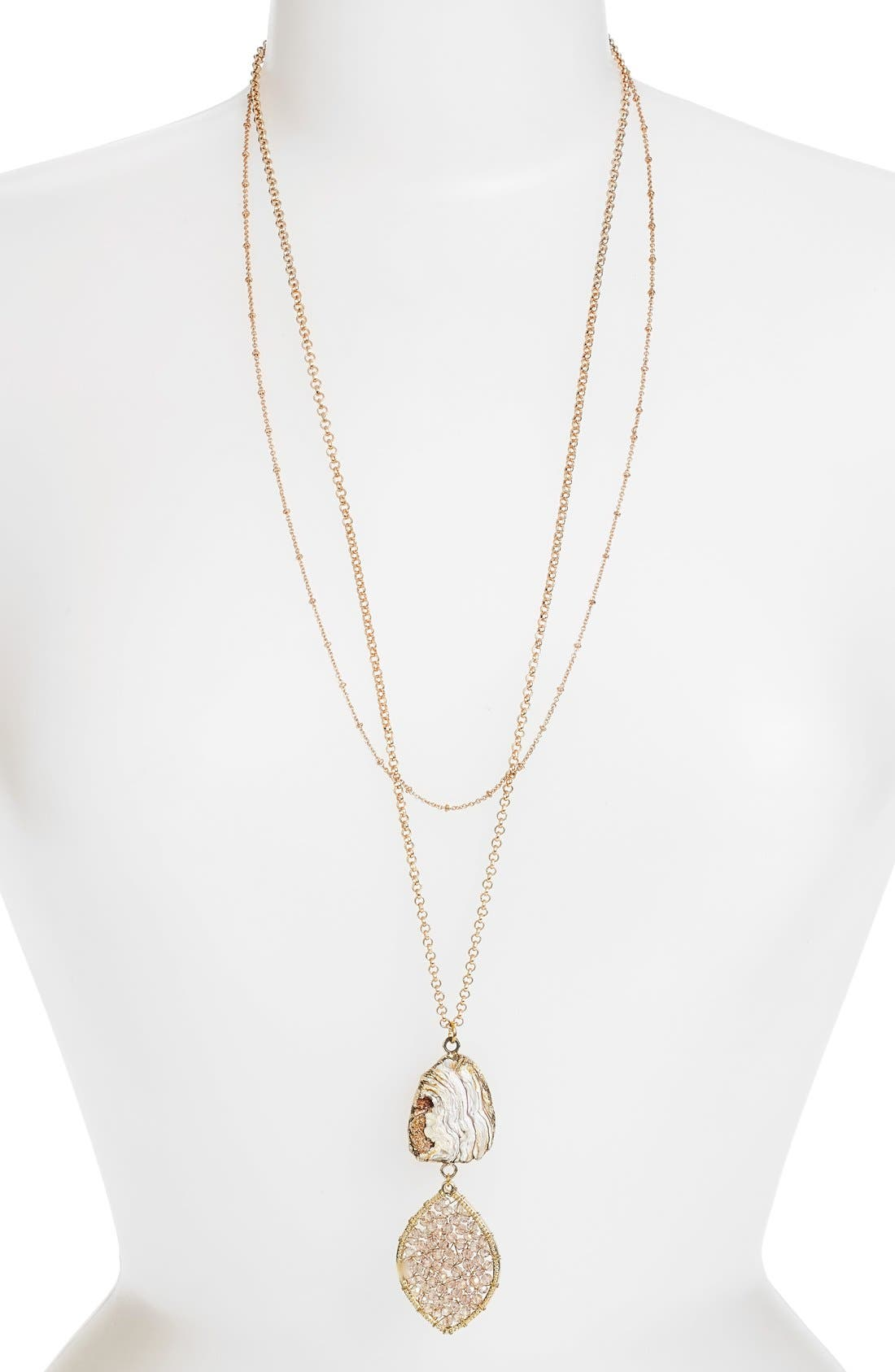 Panacea Stone & Beaded Crystal Pendant Layered Necklace