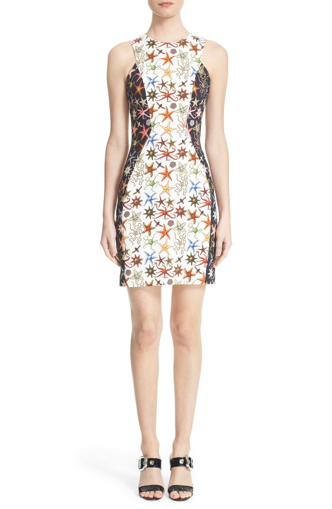 Alternate Image 1  - Versace Collection Starfish Print Bicolor Sheath Dress