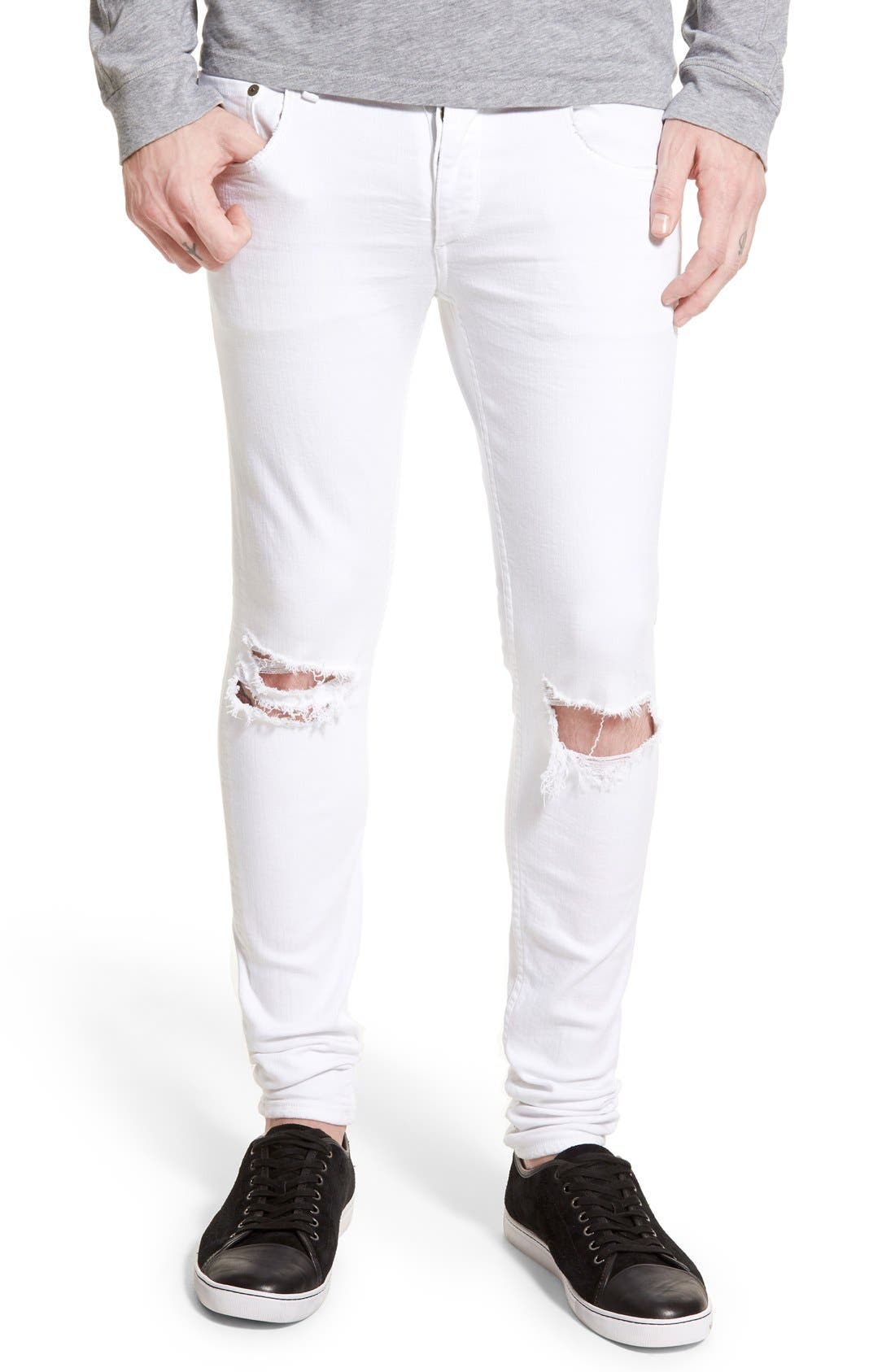 Alternate Image 1 Selected - rag & bone Standard Issue Fit 1 Skinny Fit Jeans (Aged White)