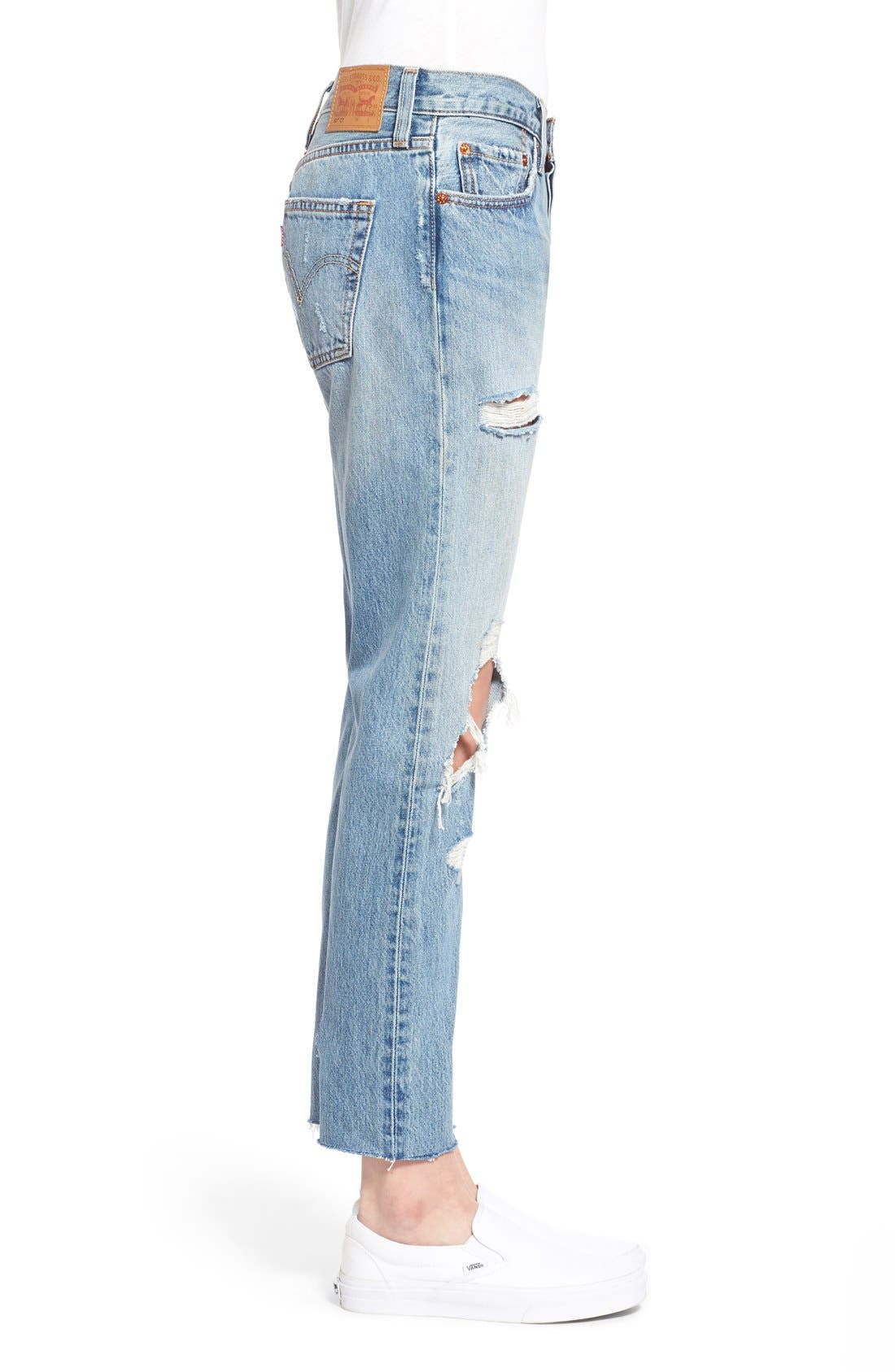 Alternate Image 3  - Levi's® '501 CT' Crop Distressed Boyfriend Jeans (Time Gone By)