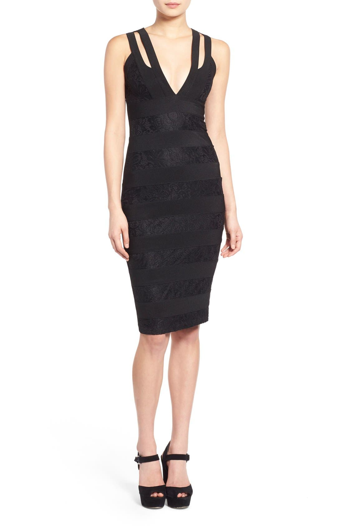 Alternate Image 1 Selected - Missguided Lace Bandage Body-Con Dress