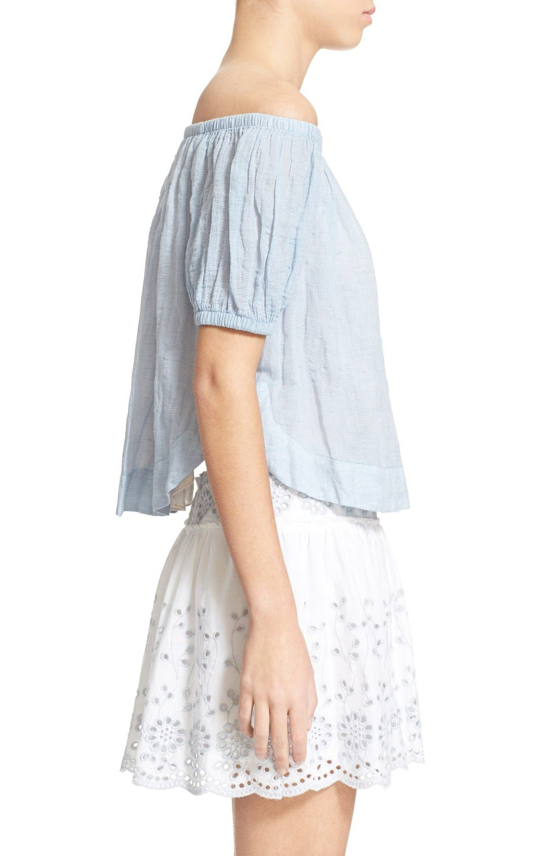Alternate Image 3  - See by Chloé Stripe Cotton Voile Off the Shoulder Top