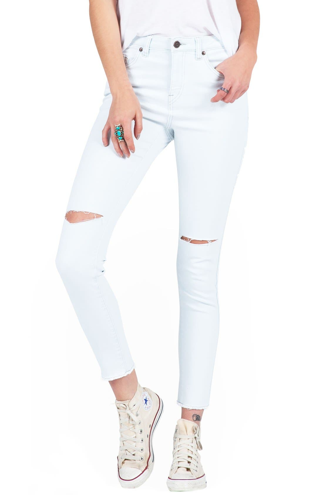 Alternate Image 1 Selected - Volcom Distressed High Waist Ankle Skinny Jeans