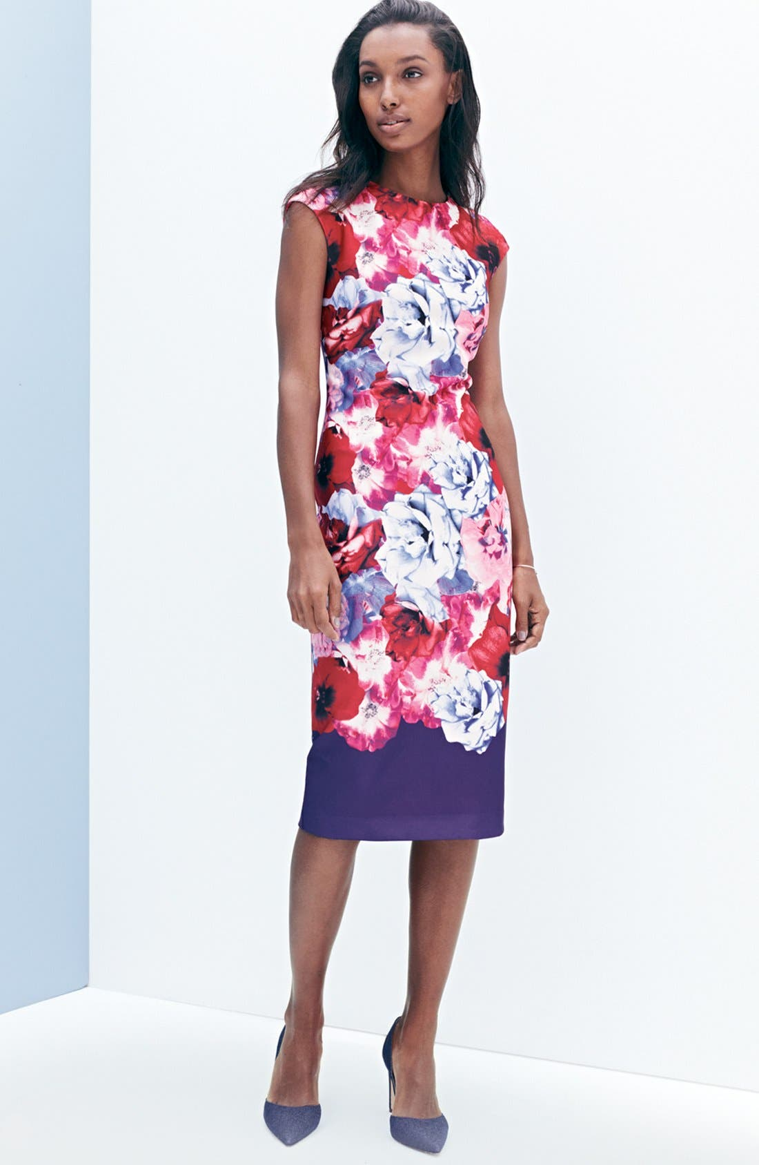 Alternate Image 6  - Vince Camuto Floral Print Stretch Midi Dress (Regular & Petite)