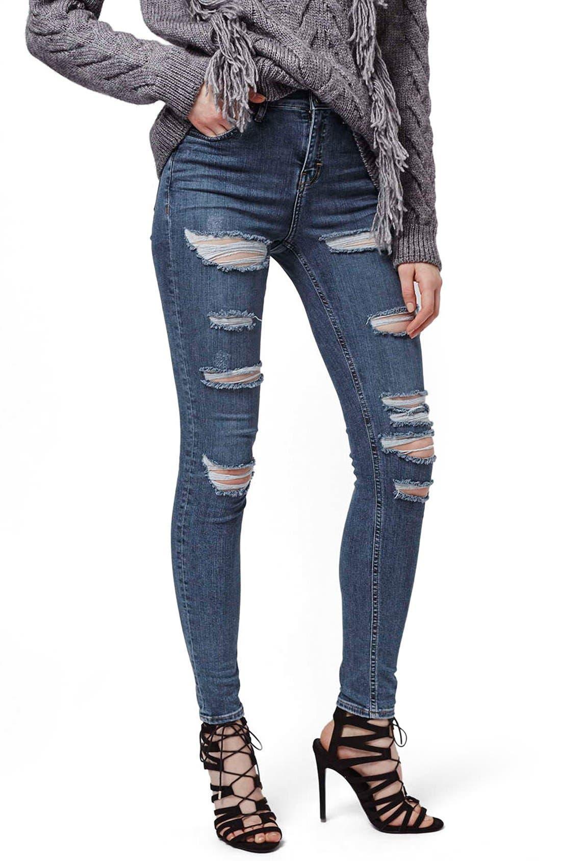 Alternate Image 1 Selected - Topshop Moto 'Jamie' Shredded Skinny Jeans