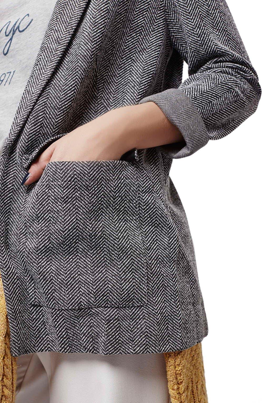Alternate Image 4  - Topshop Herringbone Boyfriend Jacket (Petite)