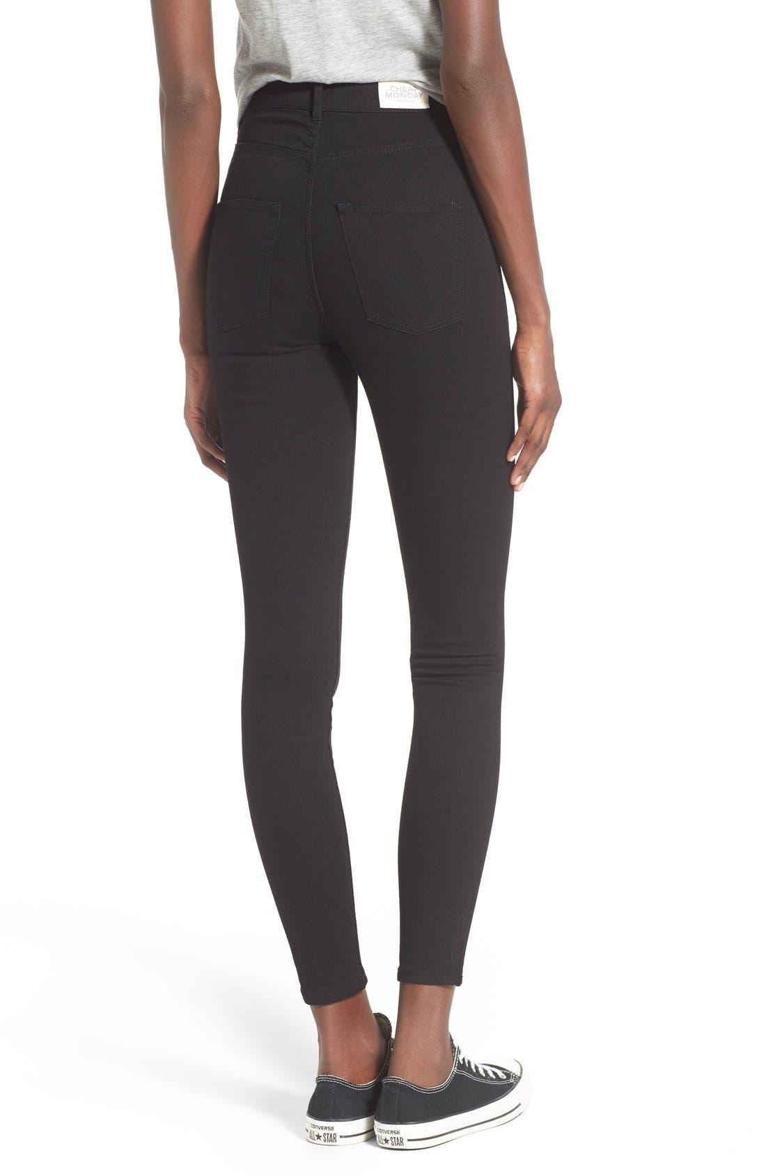 Alternate Image 2  - Cheap Monday High Rise Super Skinny Jeans (Black)
