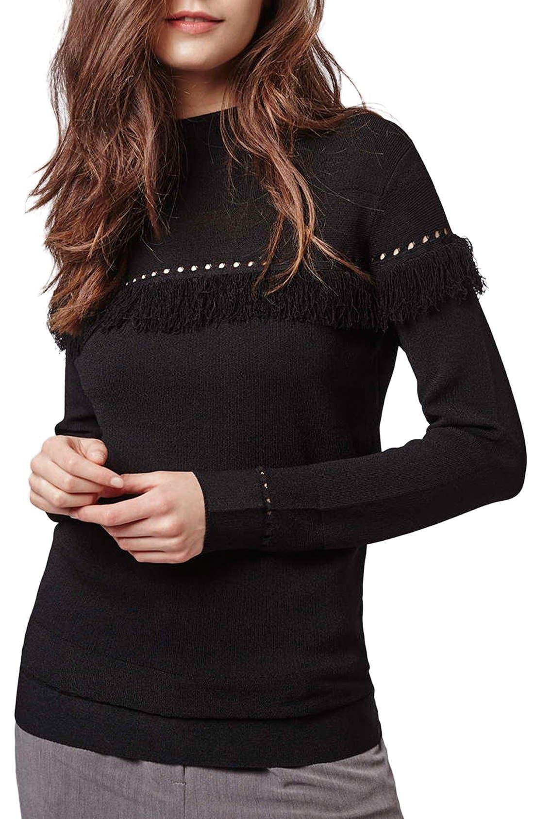 Main Image - Topshop Perforated Fringe Sweater