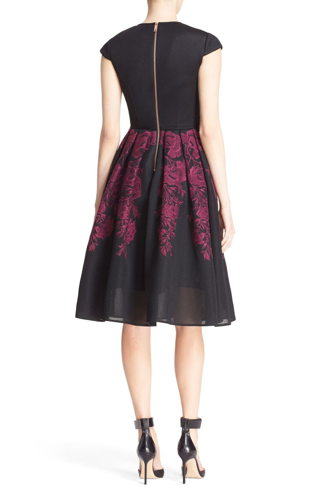 Alternate Image 2  - Ted Baker London 'Levana' Lace Appliqué Mesh Fit & Flare Dress