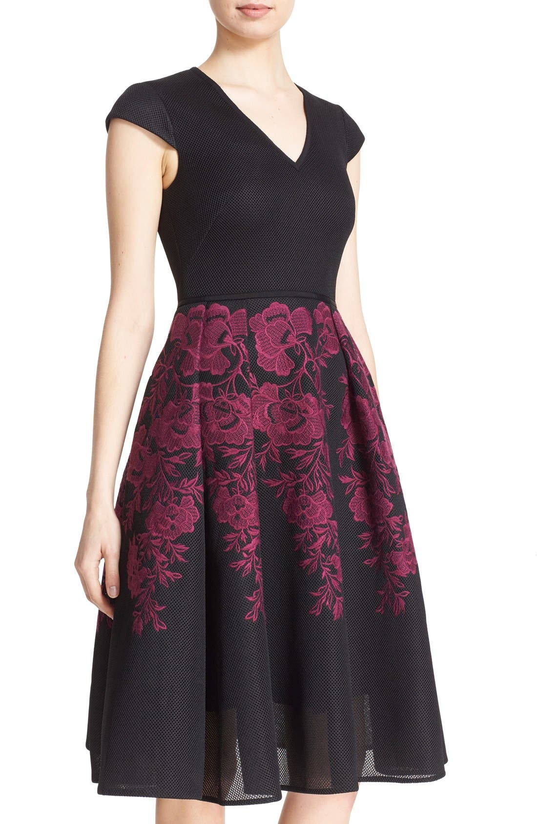 Alternate Image 4  - Ted Baker London 'Levana' Lace Appliqué Mesh Fit & Flare Dress