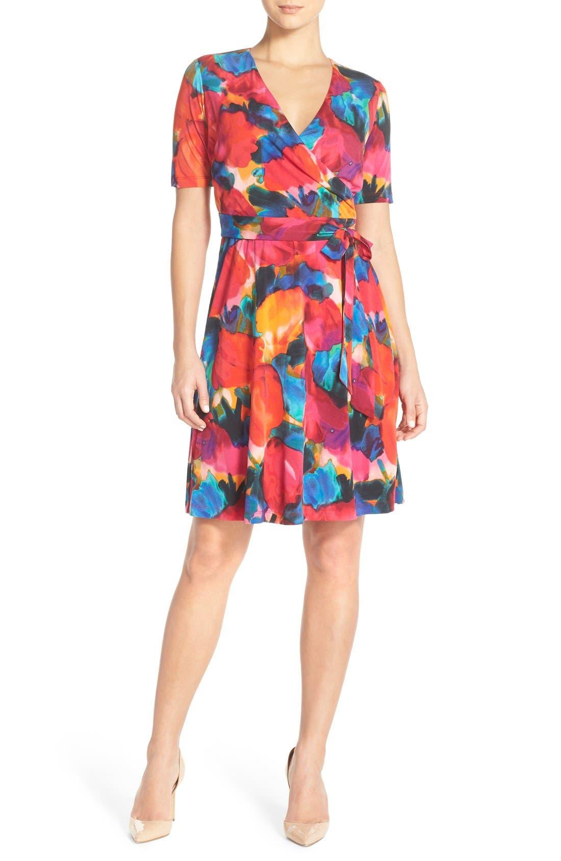 Main Image - Ellen Tracy Watercolor Print Jersey Faux Wrap Dress