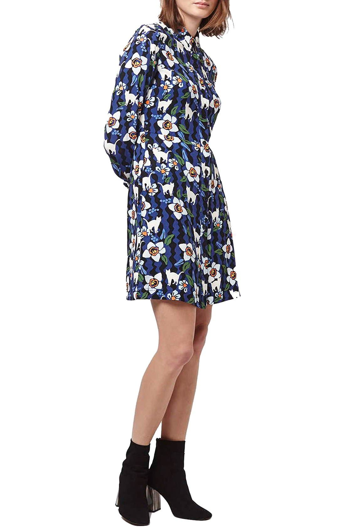 Alternate Image 1 Selected - Topshop Kitten Floral Shirtdress (Regular & Petite)