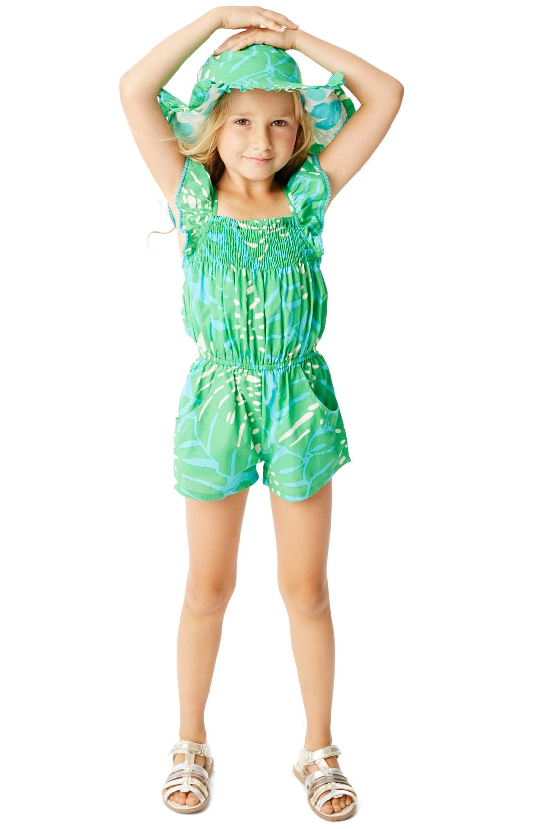 Alternate Image 3  - Masalababy 'Zuri - Island Palm' Flutter Sleeve Romper (Toddler Girls, Little Girls & Big Girls)