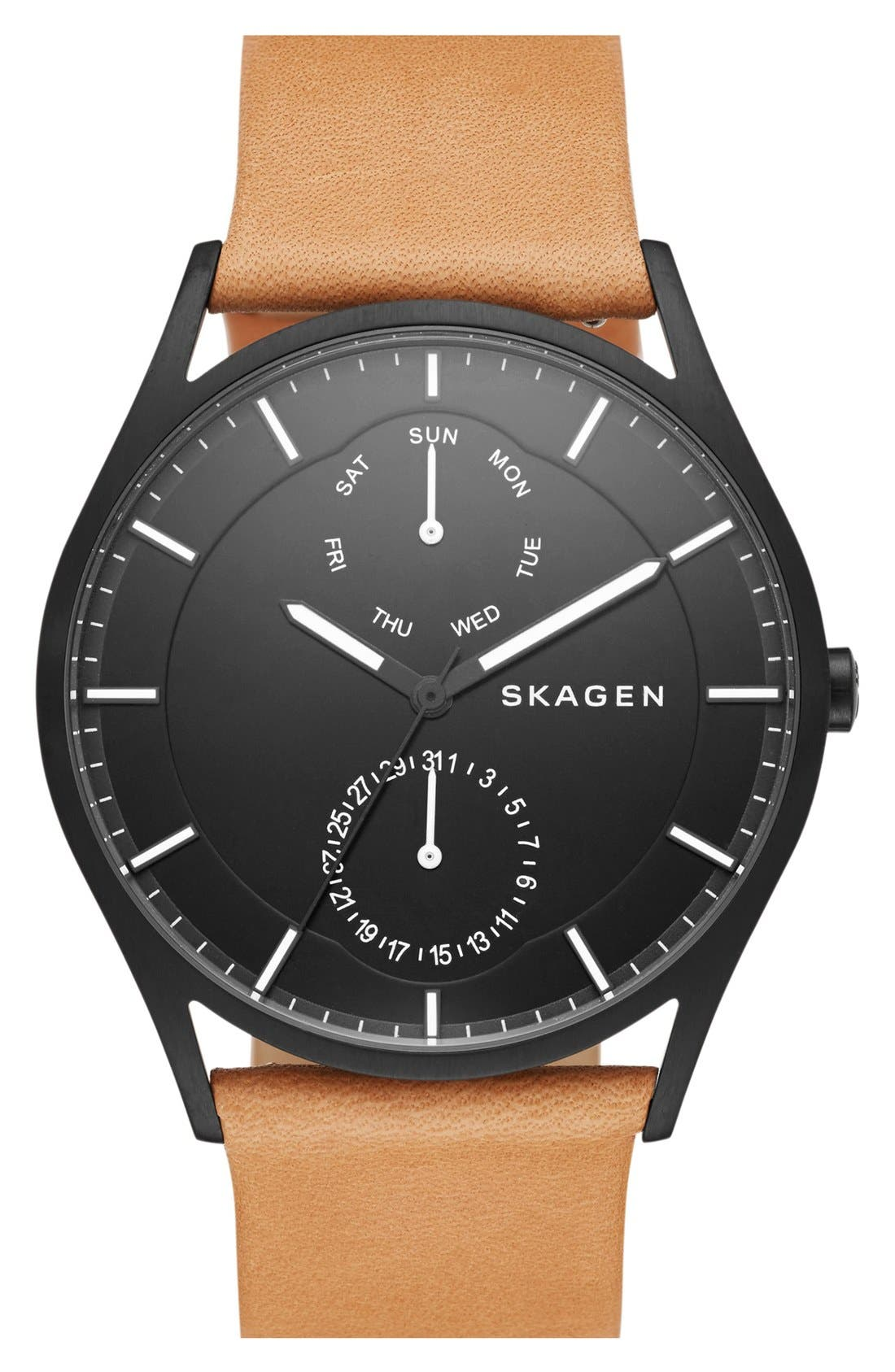 Alternate Image 1 Selected - Skagen 'Holst' Multifunction Leather Strap Watch, 40mm