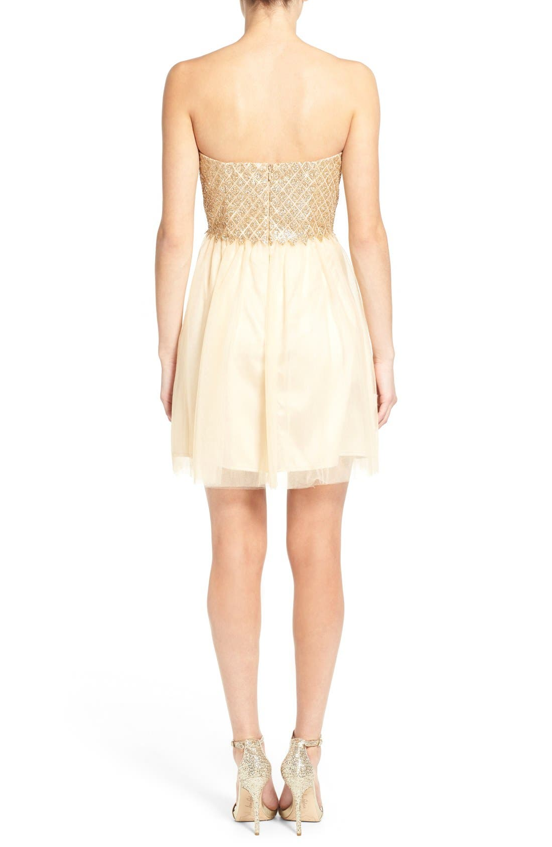 Alternate Image 2  - a. drea Strapless Glitter Bodice Fit & Flare Dress