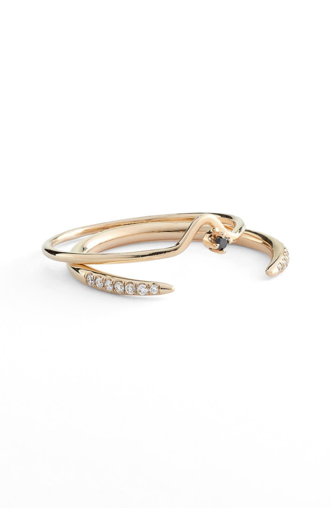 WWAKE 'Micropavé Open Slice' White Diamond Ring & 'Triangle Lineage' Black Diamond Ring (Set of 2)