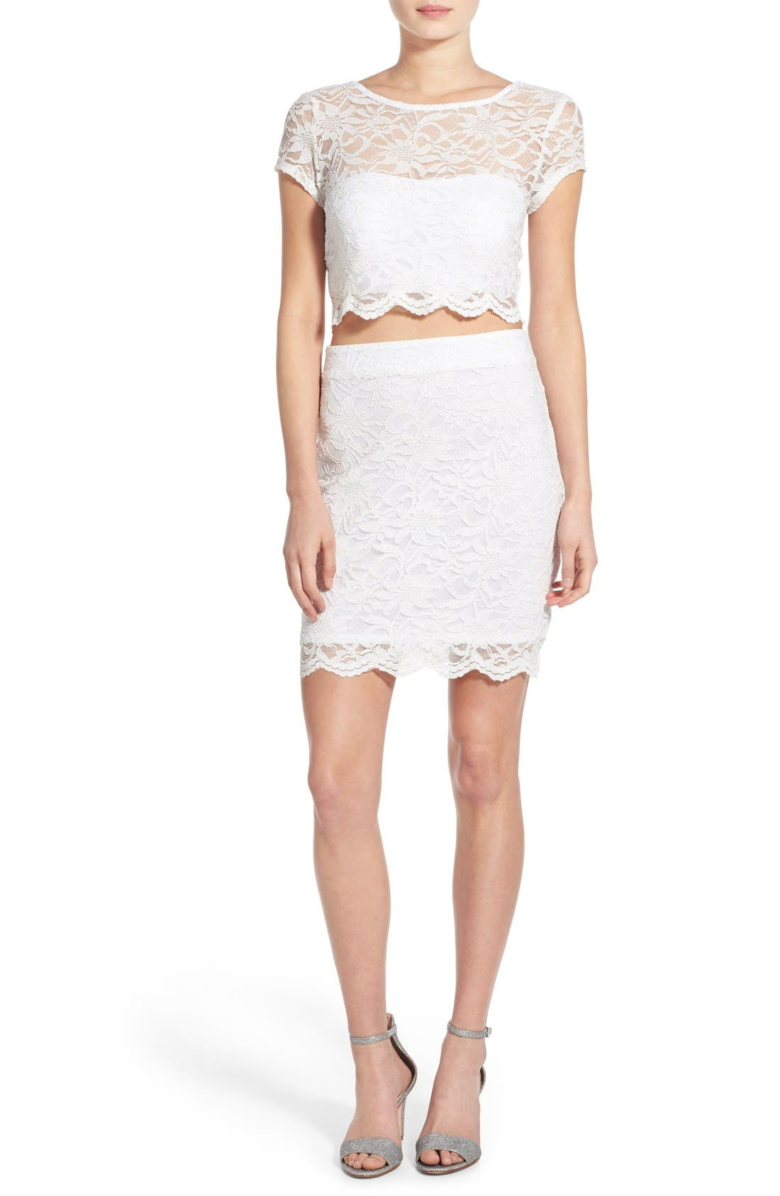 Alternate Image 1 Selected - Speechless Glitter Lace Two-Piece Sheath Dress