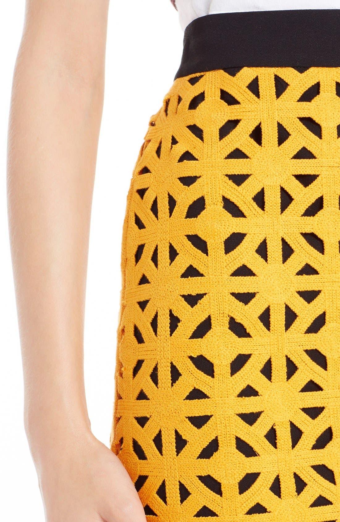 Alternate Image 4  - MSGM Geometric Cutout Cotton Pencil Skirt