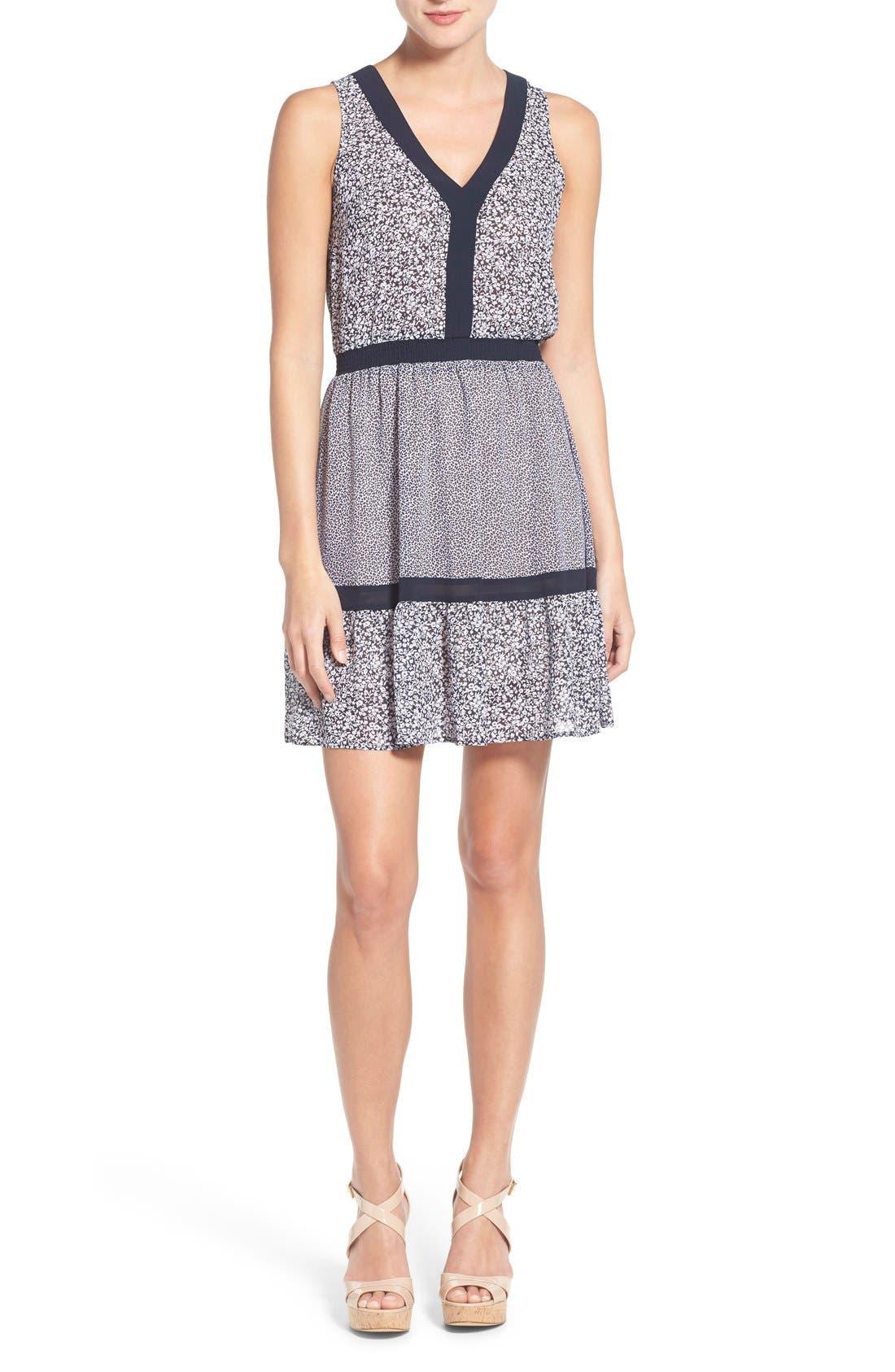 Main Image - MICHAEL Michael Kors Mixed Print Sleeveless Georgette Fit & Flare Dress