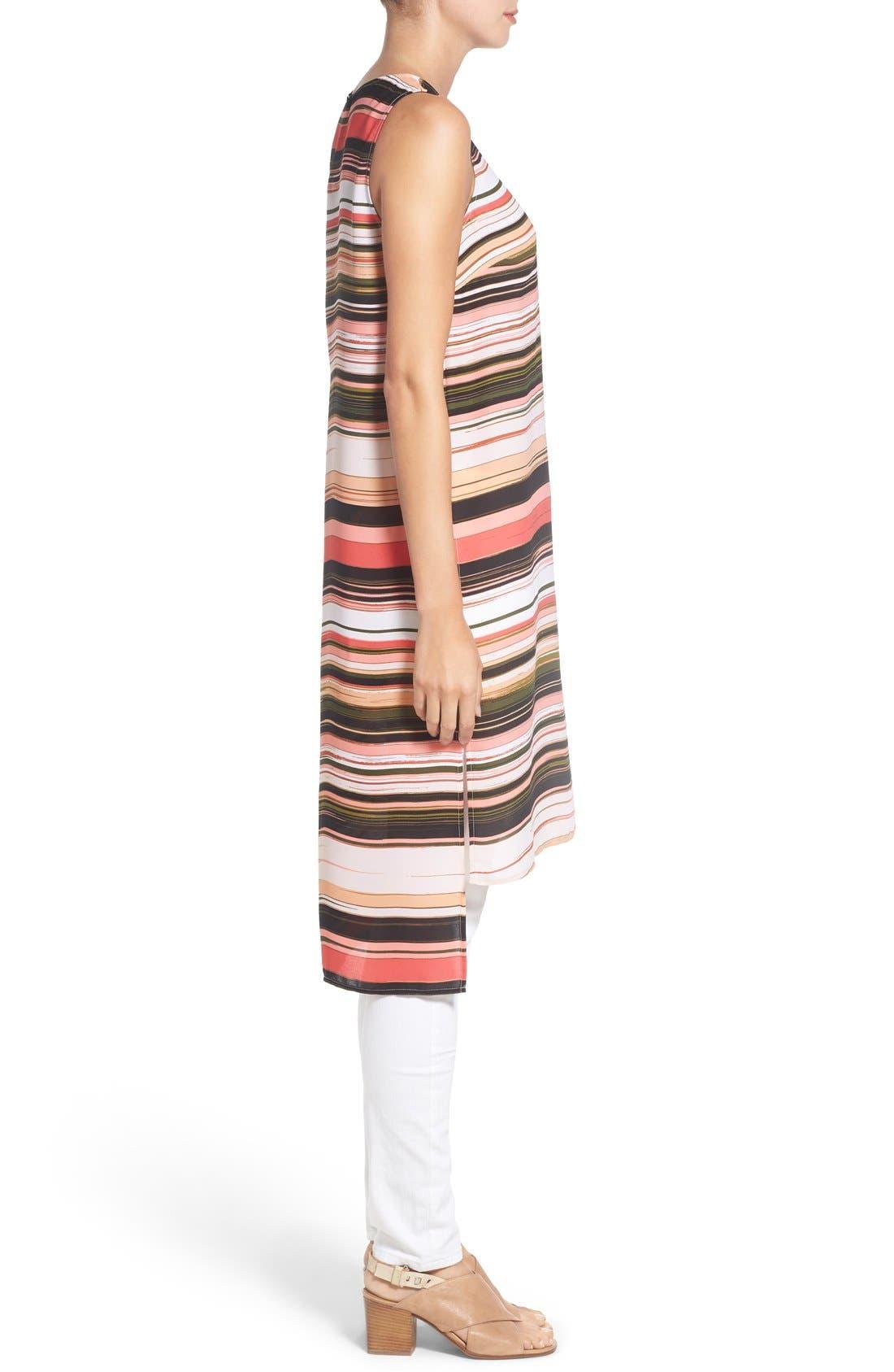 Alternate Image 3  - Vince Camuto Long High/Low Stripe Tunic (Regular & Petite)