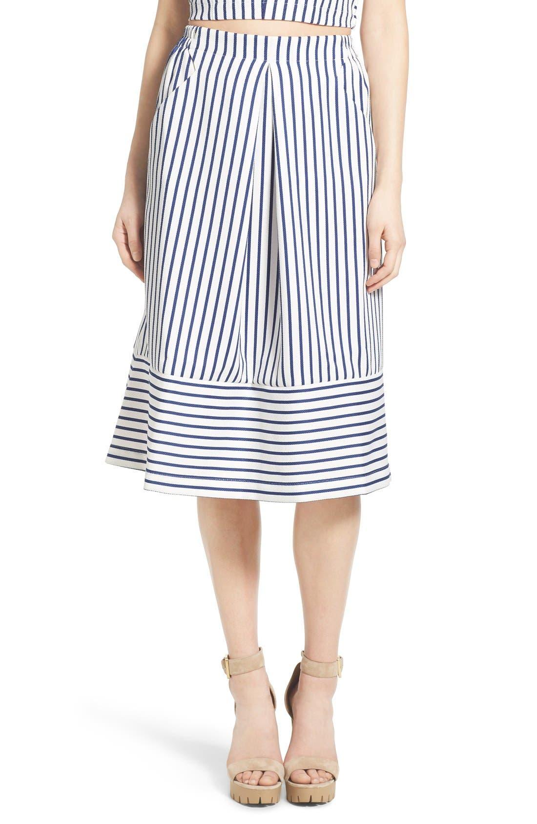 Main Image - J.O.A. Cotton Poplin Stripe Midi Skirt