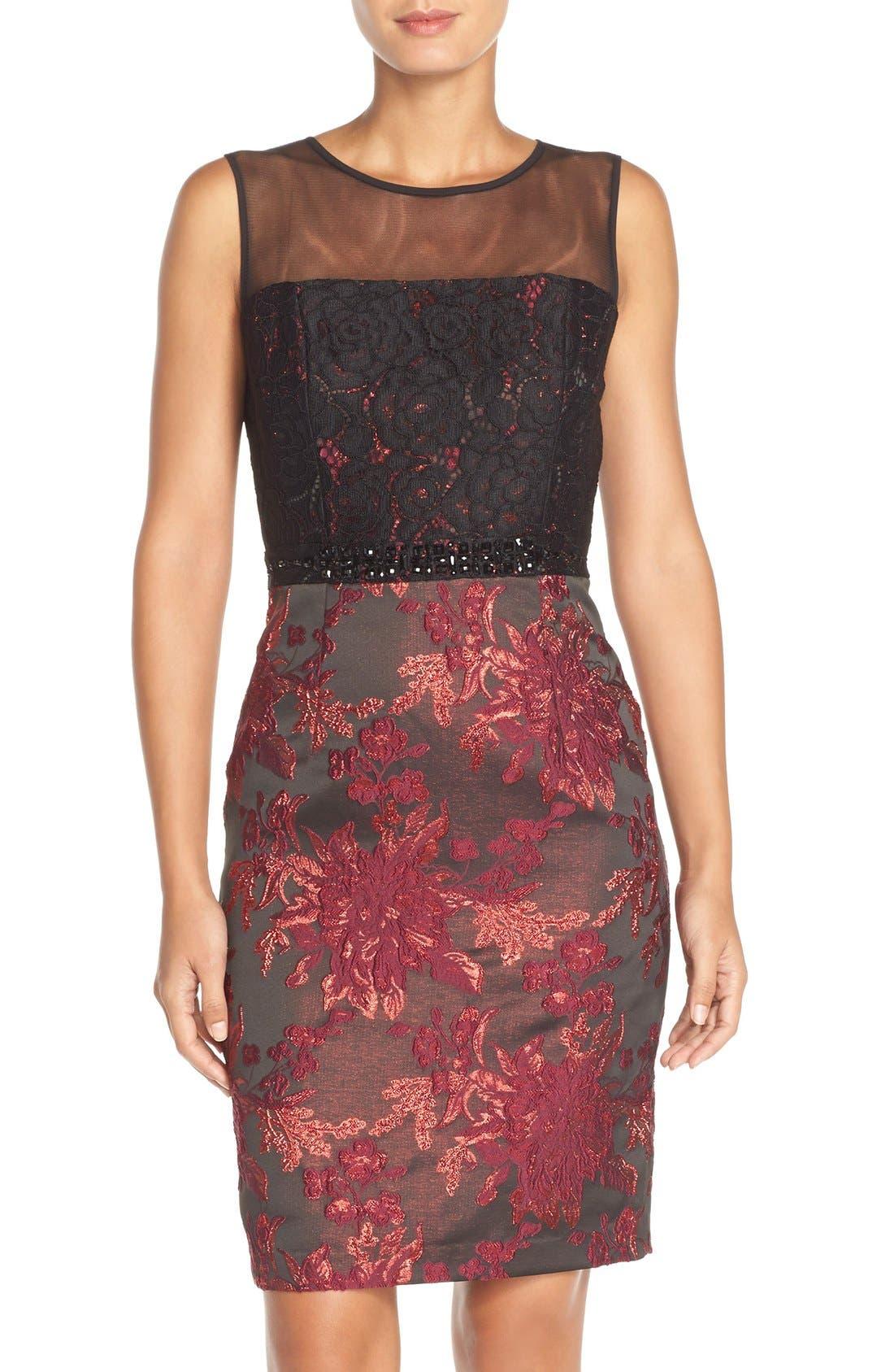 Main Image - Adrianna Papell Embellished Lace & Jacquard Sheath Dress