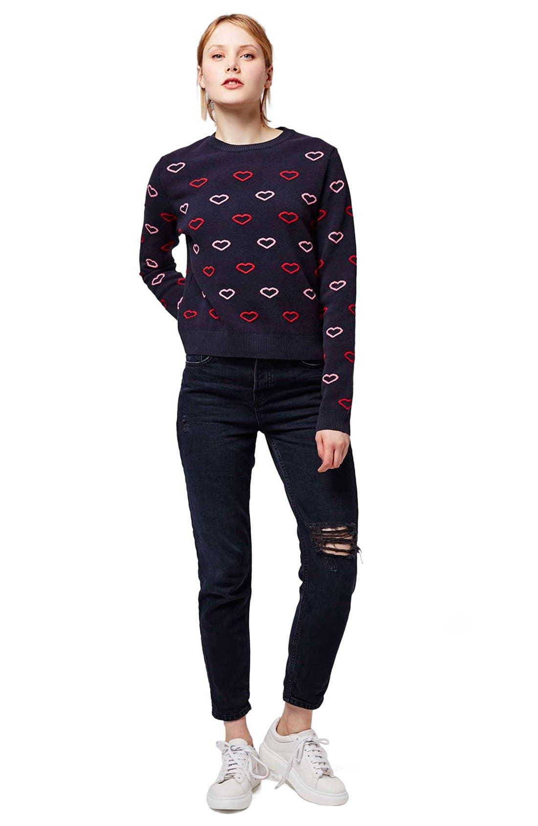 Alternate Image 2  - Topshop Embroidered Heart Sweater