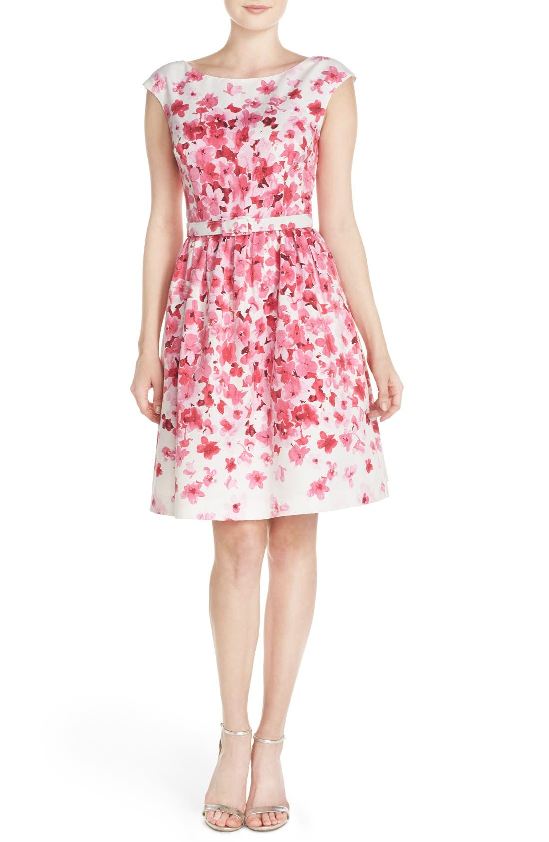 Alternate Image 4  - Eliza J Belted Floral Faille Fit & Flare Dress