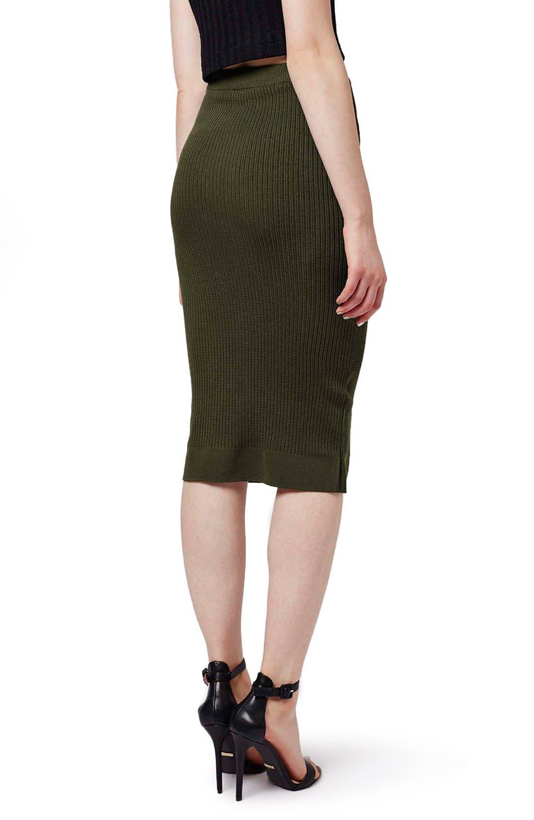 Alternate Image 3  - Topshop Ribbed Body-Con Midi Skirt