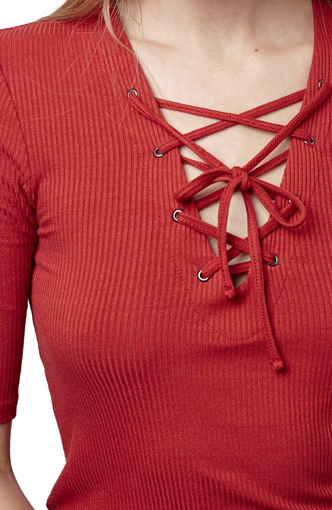 Alternate Image 5  - Topshop Lace-Up Short Sleeve Crop Top