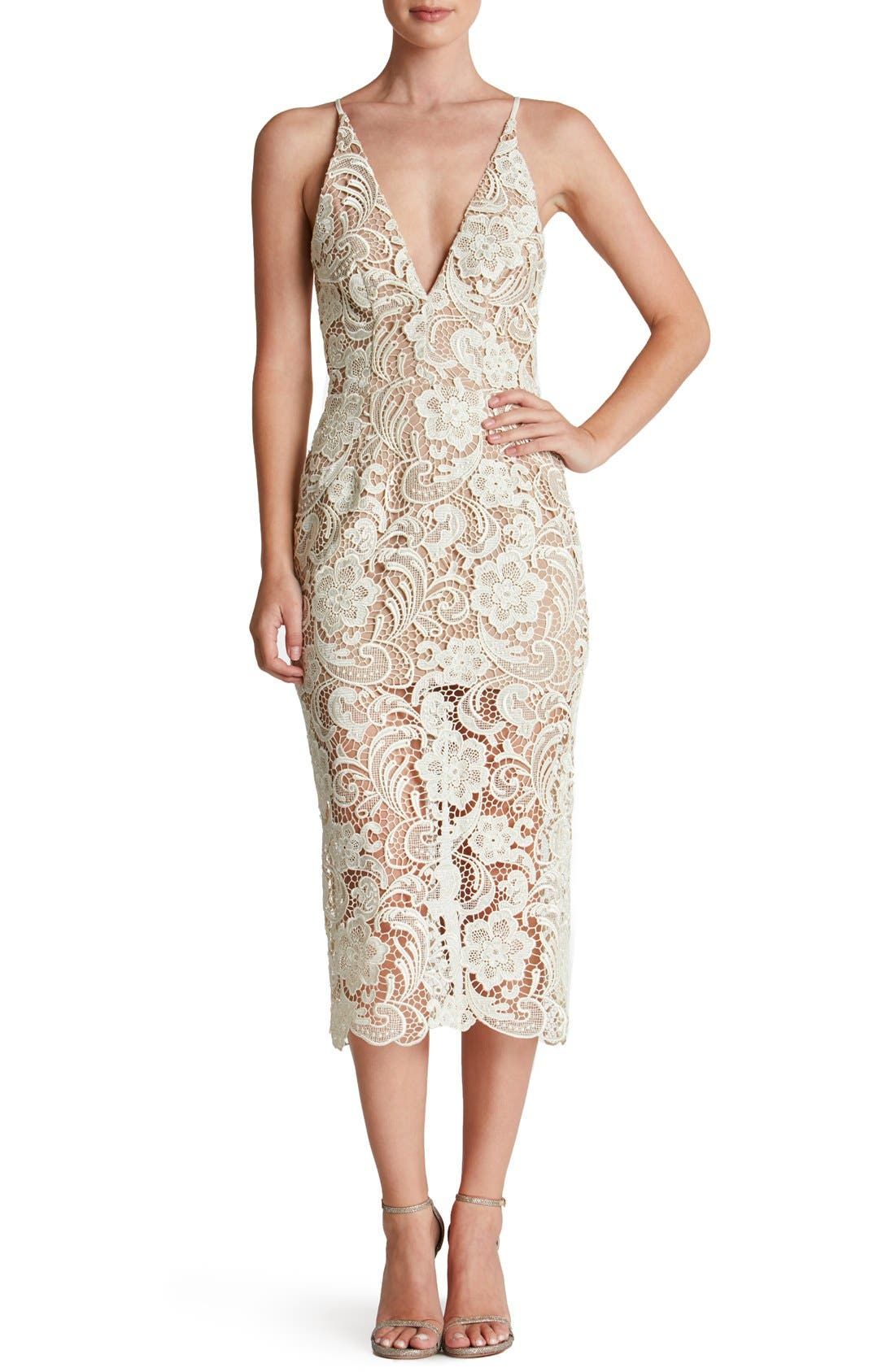 Dress the Population 'Marie' Lace Midi Dress