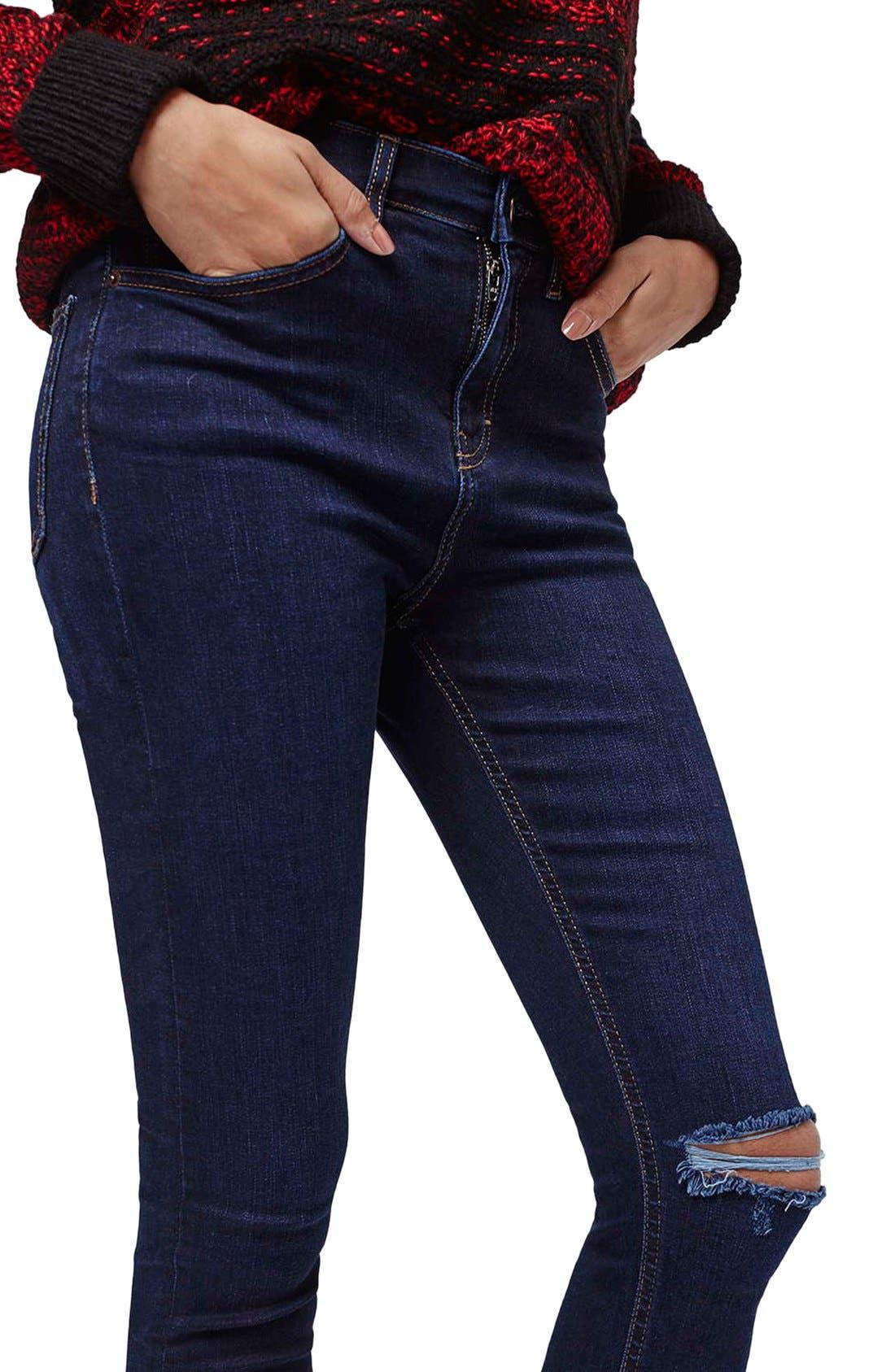 Alternate Image 5  - Topshop Moto 'Jamie' Ripped Skinny Jeans (Navy Blue)