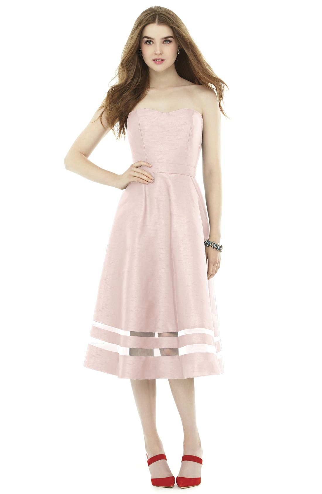 ALFRED SUNG Illusion Stripe Strapless A-Line Midi Dress